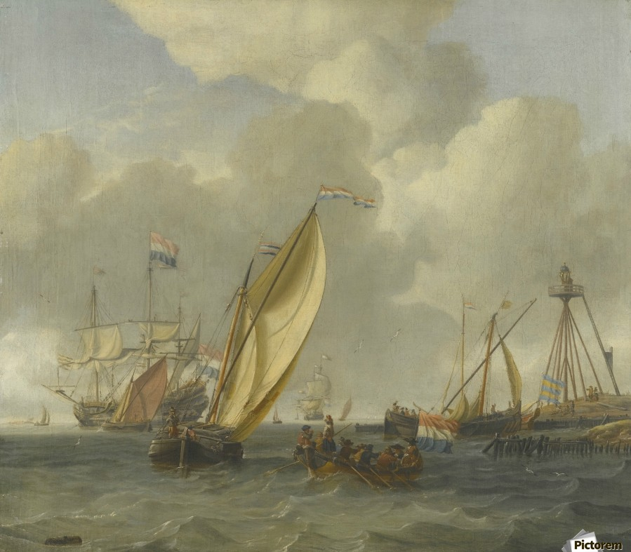 Dutch ships on choppy coastal waters by a spit of land with a beacon  Print